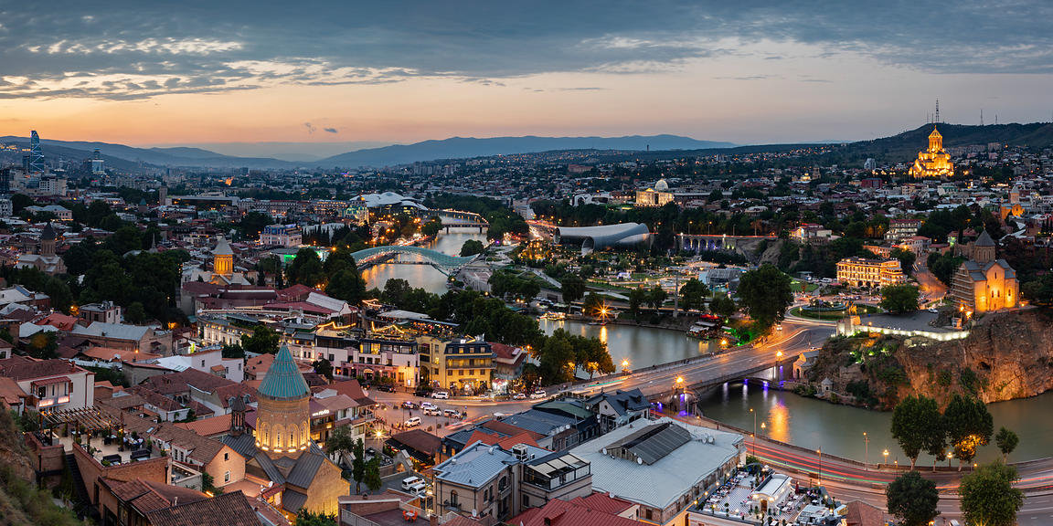 Elevated View of the Tbilisi Skyline at Dusk