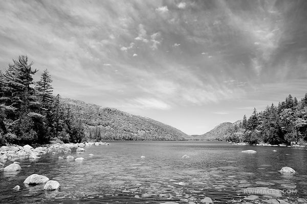 JORDAN POND IN SPRING ACADIA NATIONAL PARK MAINE BLACK AND WHITE