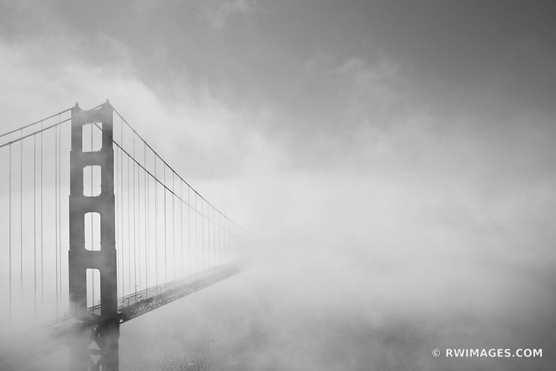 GOLDEN GATE BRIDGE FOG SAN FRANCISCO BLACK AND WHITE