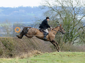 Russell Cripps jumping a hedge above Wilson's covert
