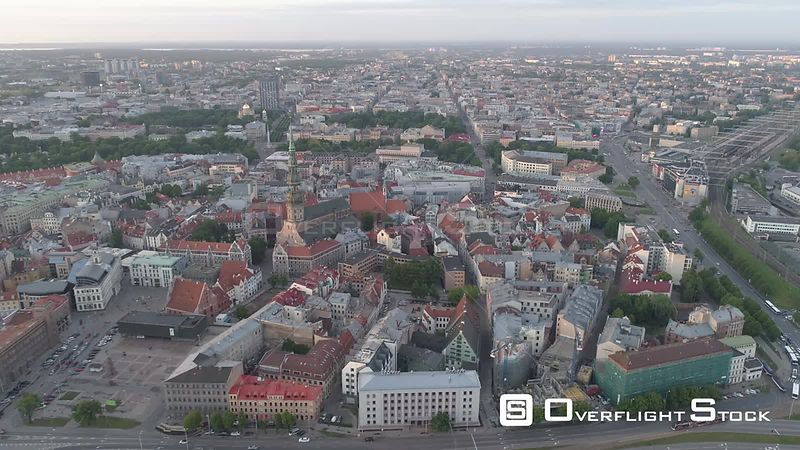 Aerial drone shot of Riga Old town and central station