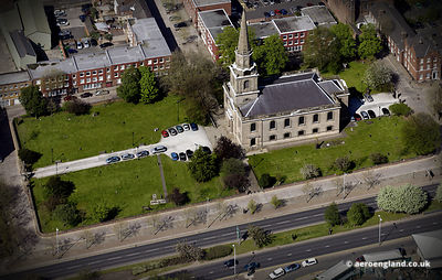 aerial photograph of St Johns Church, St John's Square Wolverhampton, West Midlands WV2 4BZ  UK