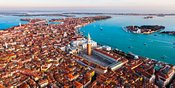 Aerial panorama of St Mark's square and San Giorgio church, Venice, Italy