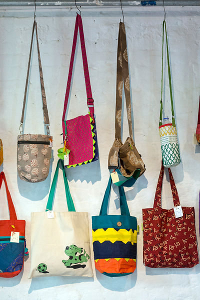 Purses and bags at the Jugaad Trust shop, Champa Gali