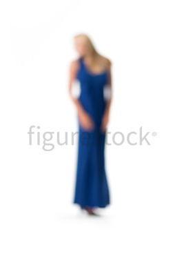 An abstract image of a blonde woman in a blue evening dress – shot from mid level.