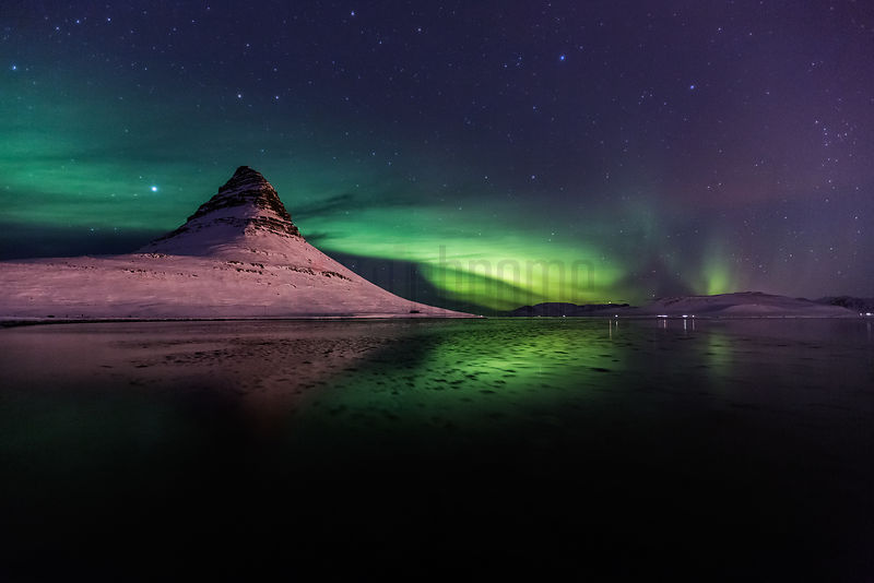 Aurora Borealis (Northern Lights) Behind Kirkjufell Mountain