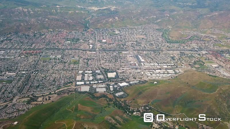 Flying Past Simi Valley, California With Green Hills In Spring