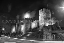 Conwy Castle & Full Moon At Night (Monochrome)