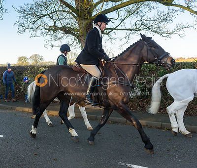 Adrienne Collie leaving the meet - The Cottesmore Hunt at Pickwell Manor 28/12