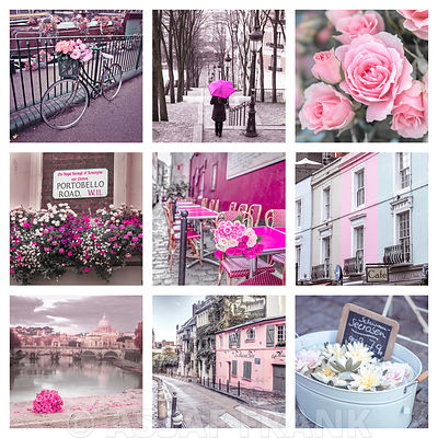 Collage of flowers, buildings and places in pink