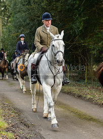 Johnnie Arkwright leaving the Cottesmore Hunt meet at Little Dalby Hall