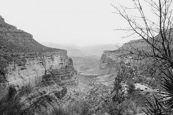 BRIGHT ANGEL TRAIL AND INDIAN GARDENS GRAND CANYON ARIZONA BLACK AND WHITE