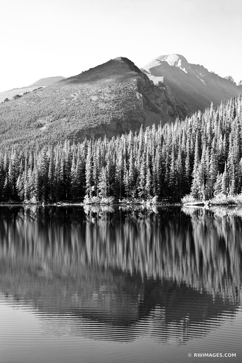 BEAR LAKE IN SUMMER ROCKY MOUNTAIN NATIONAL PARK COLORADO BLACK AND WHITE VERTICAL
