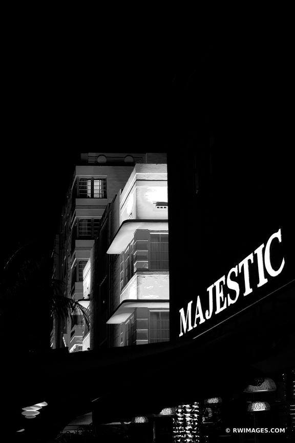 ART DECO ARCHITECTURE MIAMI BEACH FLORIDA NIGHT BLACK AND WHITE
