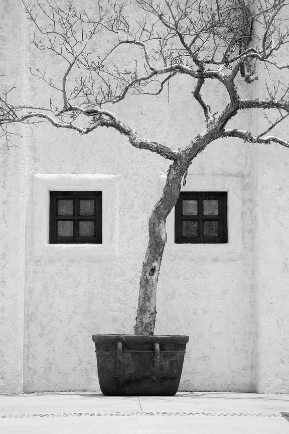 Stunning black and white image of a beautiful white washed building at a luxury resort