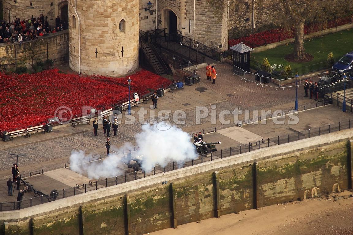 21 Gun Salute by Honourable Artillery Company by The The Tower of London's Poppy Installation