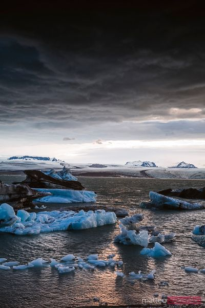 Dramatic weather at Jokulsarlon glacial lake, Iceland