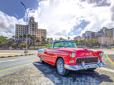 Vintage car parked by the road, Havana, Cuba