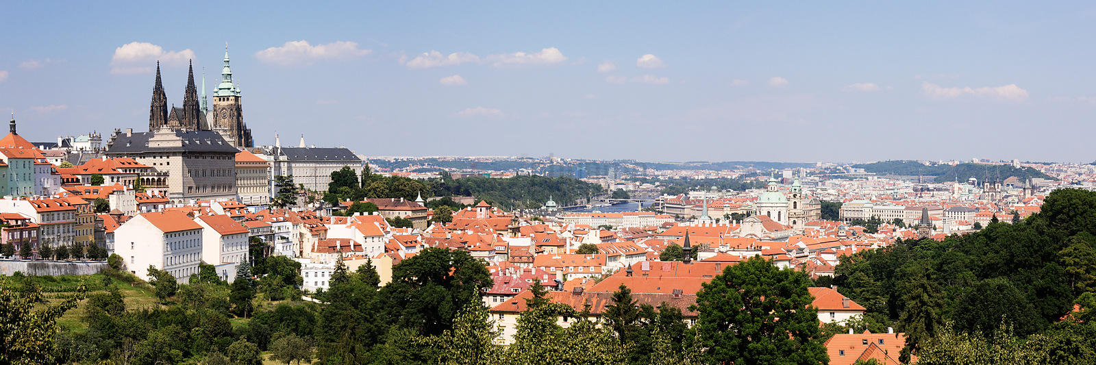Prague Skyline including Prague Castle and Hradcany and St Vitus Cathedral