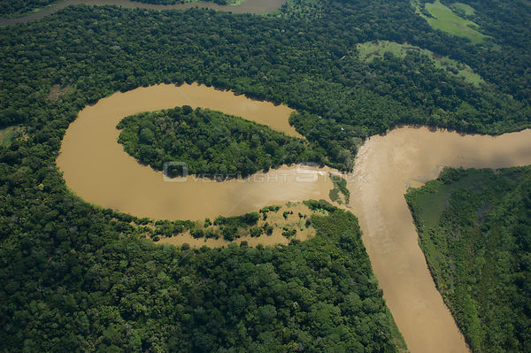 "Aerial view of river meander and formation of ox-bow lake, in Amazon ""várzea"" Rainforest during the great 2008 flood, Norther..."