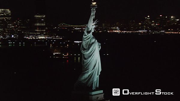 Flight around Statue of Liberty at night