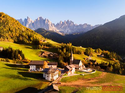 Aerial view of famous town in autumn, Dolomites, Italy