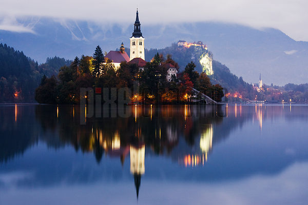 Church of the Assumption in the Fall, Lake Bled, Slovenia