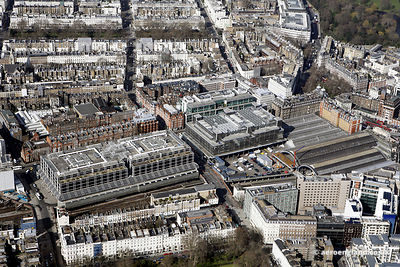 aerial photograph of Buckingham Palace Road London SW1W 9HA and Vicinity around Victoria Station. In the photo are Hugh St, L...