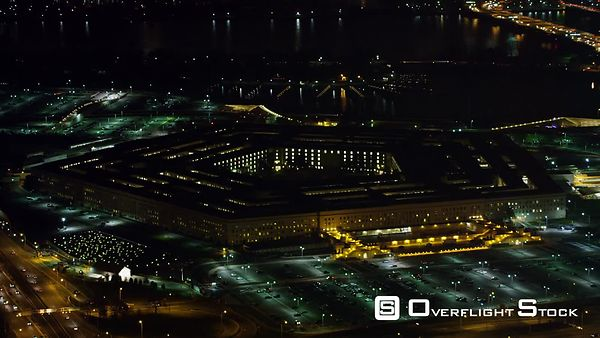 Gradual Approach to the Pentagon at Night, Potomac River in Background.