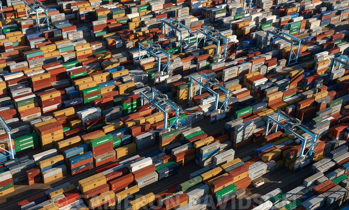 Aerial Virginia Cargo Ship Containers