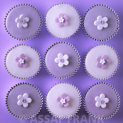 Cupcakes with flower shape decorations