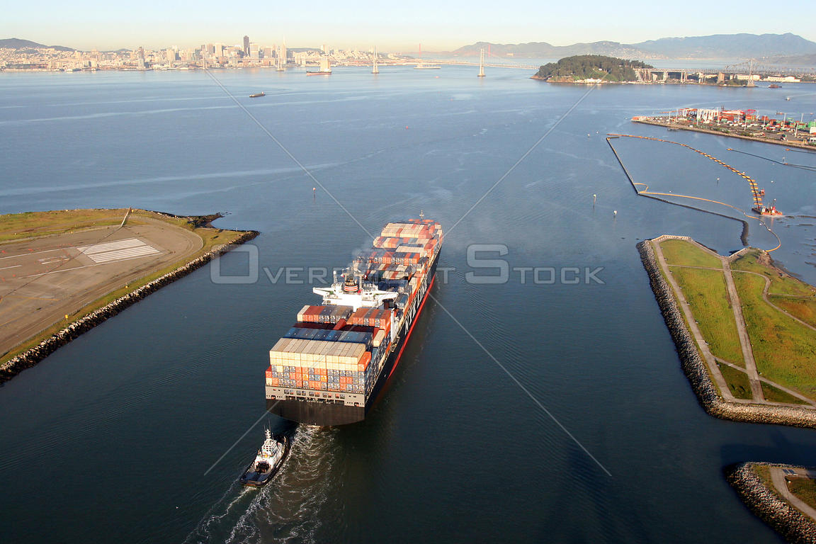 Cargo ship in the Port of Oakland, San Francisco Bay, California