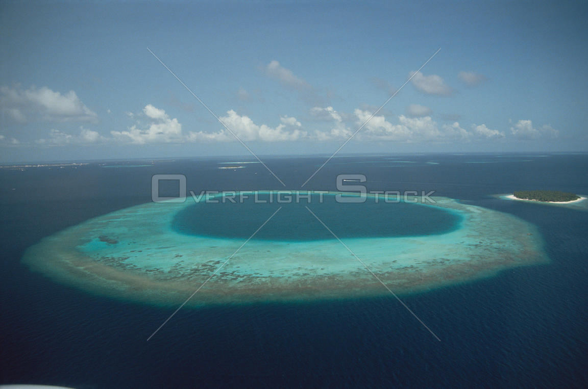 Aerial view of island, the Maldives, Indian Ocean