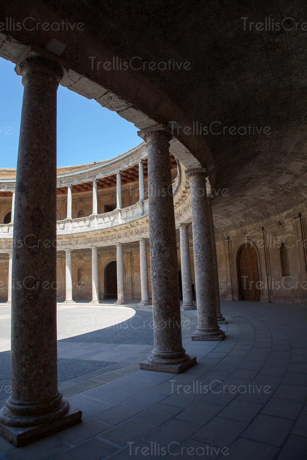 Courtyard of palace Charles V, Alhambra