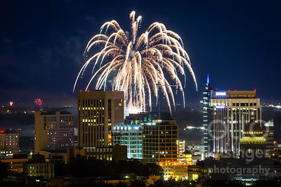Fireworks over Boise, Idaho on July 4, 2015.