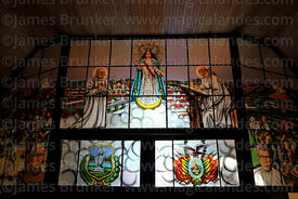 Stained glass window with figure of Virgen de Chaguaya and Bolivian coat of arms, San Bernardo de Tarija cathedral, Tarija, B...