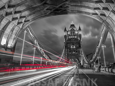 Tower bridge with strip lights, London, UK