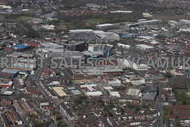 Bury aerial photograph looking across from Heywood Street towards the Town Centre and the Rock Shopping Centre and the Woodfi...