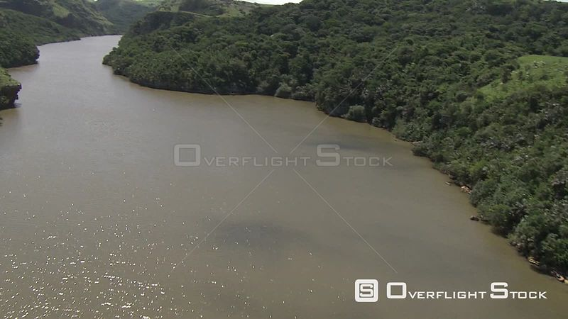 Aerial shot of a river KwaZulu Natal South Africa