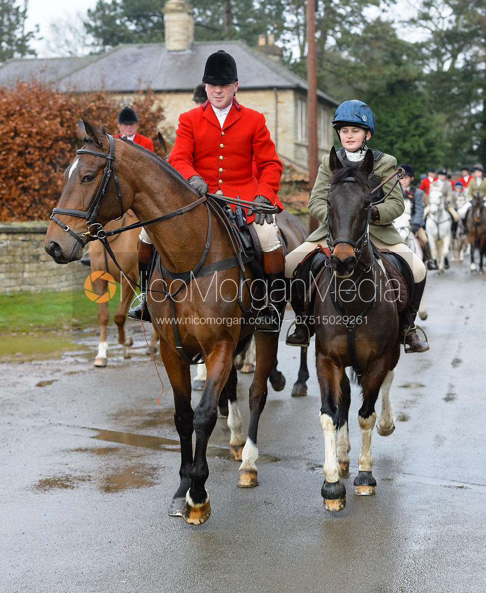 John Holliday, Max Kettlewell leaving the meet - The Belvoir Hunt at Buckminster