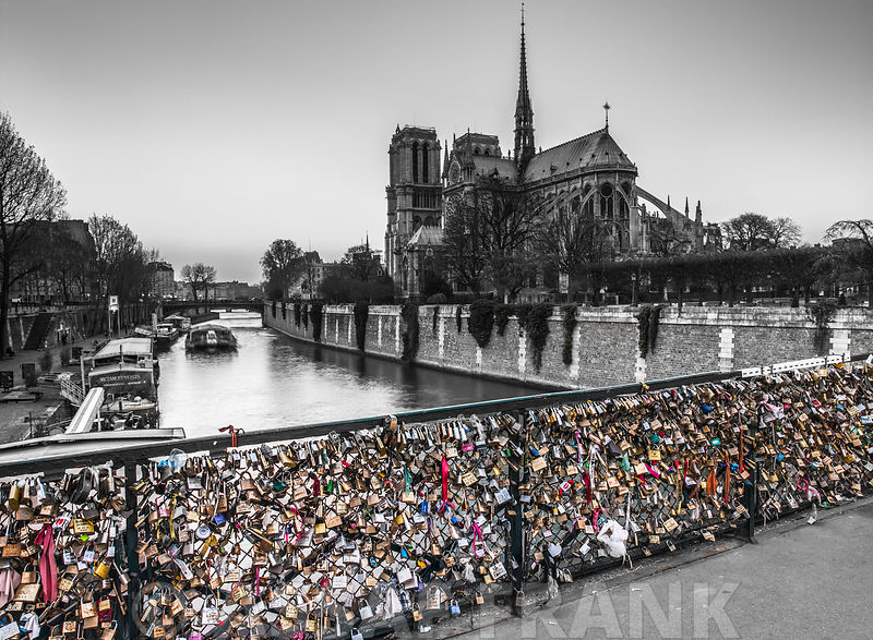 Pont des Arts bridge with love padlocks, Paris