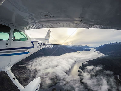 Point of View Cessna Plane Over Foggy Sechelt Inlet Sunshine Coast BC