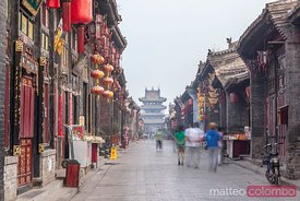 Ancient Ming Qing street in the old town of Pingyao, China