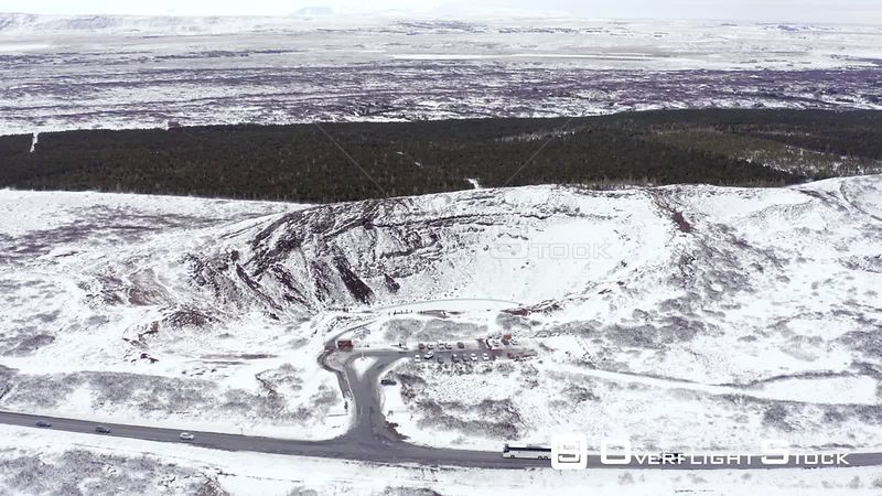 Snowy Volcanic Kerio Crater on the Golden Circle of Iceland Seen From the Air