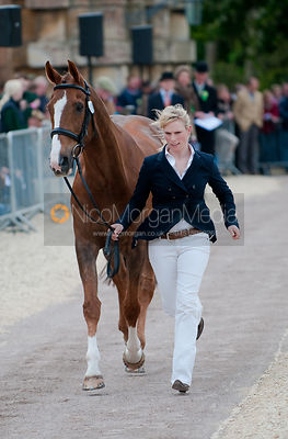 Zara Phillips completes the first horse inspection at the Badminton Horse Trials 2009