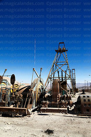 Disused drilling rig and motors on display near Chuquicamata mine, Region II, Chile