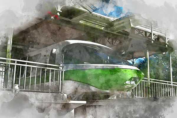 Monorail Green Watercolor