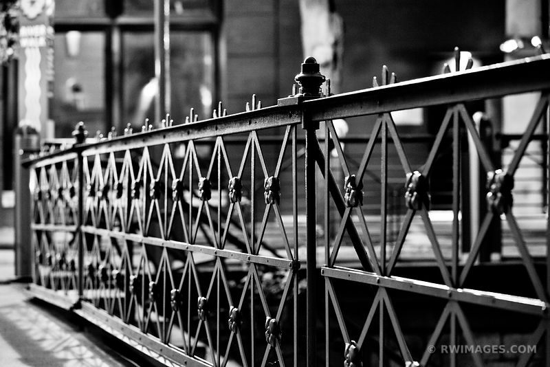 IRON BRIDGE RAILING SAN ANTONIO TEXAS BLACK AND WHITE