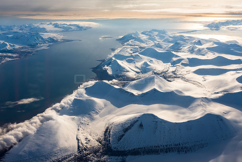 Aerial View of Spitzbergen, Svalbard Archipelago in June. Norway.