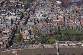 Chester high level view of the Roman Amphitheatre and the Church of St John the Baptist Grosvenor Park with Chester in the ba...